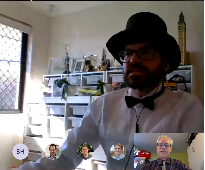 Engineering conference call with some dressups :-) Heath, Tom, Nat, Tim and Scott